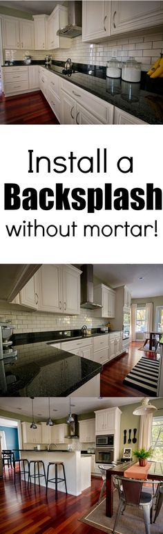 Install a backsplash without mortar! Learn how. Makes installing a backsplash a lot less scary!