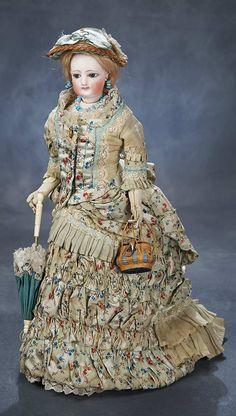 """François Gaultier — Bisque 15"""" Poupee Superb Couturier Costume, c. 1875    (624x1100)"""