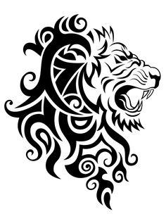 лев, тату, трайбл, царь, орнамент