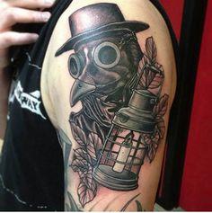 This detailed and dark piece by Bradley L Hampstead. #inked #tattoo #horror #doctorplague #ink #inkedmag #blackandgrey