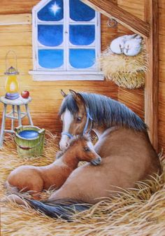 Kathy Goff Horses Mare Foal Stable Barn White Doves Bird Christmas Greeting Card