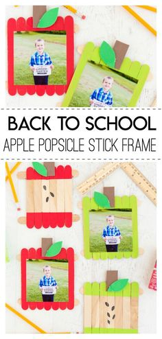 Back to School Apple Popsicle Stick Frame- a fun back to school themed craft using popsicle sticks that perfectly holds those First Day of School Photos. back to school pictures, back to high school, back to school celebration ideas
