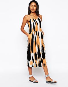 Image 1 of Won Hundred Midi Dress in Brush Stroke Print
