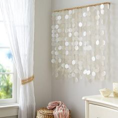 """For wall by tub-RH """"Capiz Wall Mobile ~Idea. Go to local sea shop and use sea shells, string, and a wooden stand. Teenage Girl Bedrooms, Girls Bedroom, Bedroom Decor, Decorating Your Home, Diy Home Decor, Gypsy Decorating, Capiz Chandelier, Decoration Plante, Beaded Curtains"""