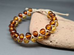 7,1 gr Genuine Natural Baltic Amber Bracelet No Enhancement Citrine/Cognac #Handmade #Beaded