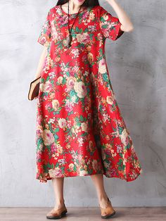 Sale 13% (9.99$) - Gracila Floral Printed Women Loose Short Sleeve Maxi Dresses