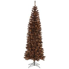 "7.5' x 34"" Mocha Pencil Tree with 400 Clear Mini Lights and 803 PVC Tips"