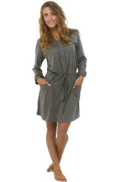 Del Rossa Women s Hooded Knit Robe with Button Snaps - Dark Gray XL  (A0732ECLXL) 23ff4df93
