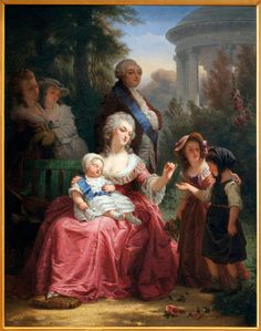 A painting of Louis XVI and Marie Antoinette in the Gardens of Versailles, by Charles Louis Lucien Muller. (Image: Leemage/UIG via Getty Images)