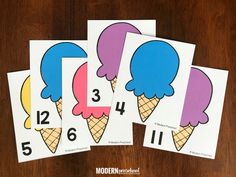 FREE preschool printable ice cream counting mats to practice numbers while counting using correspondence and fine motor skills during a summer theme! Circle Time Activities, Fall Preschool Activities, Small Group Activities, Gross Motor Activities, Free Preschool, Head Start Classroom, Ice Cream Crafts, Ice Cream Theme, Creative Curriculum