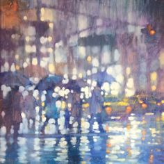 Painting of a rainy street in New York City by David Hinchliffe #oiloncanvas