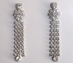 Long and lovely rhinestone dangle earrings