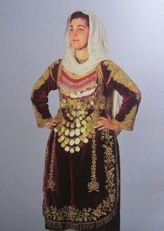 Traditional dress from Salamina Island, Greece Cross Stitch Borders, Greeks, Traditional Dresses, Islands, High Neck Dress, Culture, Fashion, Turtleneck Dress, Moda