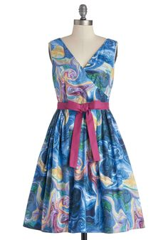 In the Key of Chic Dress in Watercolors. Help your outfit harmonize beautifully with the afternoon's special occasion by wearing this chic, printed frock by Bea  Dot, found exclusively at ModCloth! #multi #modcloth