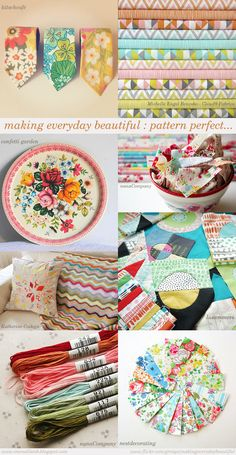 Images from the Flickr group titled 'making everyday beautiful...': 1. untitled by kitschcafe, 2. simpatico by Michelle Engel Benscko - Cloud9 Fabrics, 3. Confetti Garden by confetti garden, 4. spiders by nanaComapny, 5. scrappy pillow by Katherine Codega, 6. samples by lusummers, 7. color palette by nanaComapny, 8. New gift tags made with MOO cards by nestdecorating