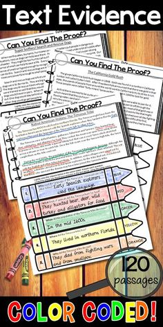 Students color code text evidence to prove their answers. Entire year of nonfiction passages! 6th Grade Ela, Third Grade Reading, Middle School Reading, 3rd Grade Classroom, Fourth Grade, Grade 3, Second Grade, Classroom Ideas, Reading Lessons