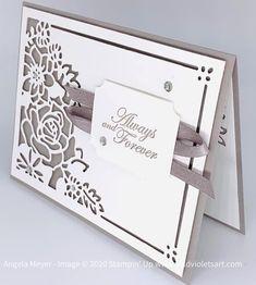 Cricut Anniversary Card, Wedding Anniversary Cards, Wedding Scrapbook, Scrapbook Cards, Card Making Tutorials, Making Ideas, Wedding Card Verses, Wedding Cards Handmade, Stamping Up Cards