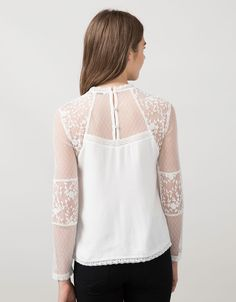 BSK embroidered plumetis and tulle blouse - Shirts & Blouses - Bershka United Arab Emirates