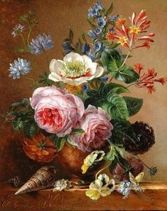 Elisabeth Johanna Koning (Dutch artist, 1816-1887) Exuberant Flower Still Life on a Marble Ledge 1841