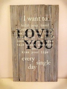 I want to love you sign made using repurposed pallet or barn wood. Gray stained background allowing wood grain to show. by lynda