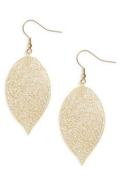 BP. Filigree Leaf Drop Earrings available at #Nordstrom