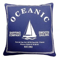 Nautical Ship-Print Filled Cushion, Navy Blue