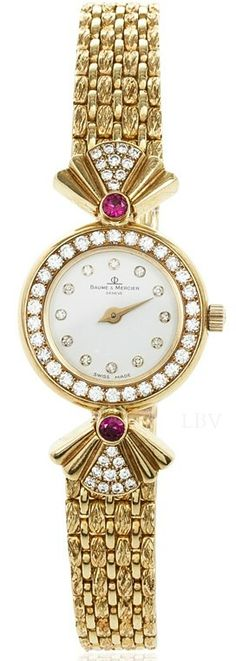 Rosamaria G Frangini   High Whatch Jewellery   Baume & Mercier High Jewelry Diamond 18K Yellow Gold Womens Wristwatch 20 MM  
