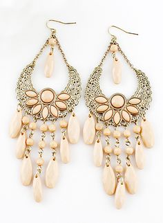Apricot Gemstone Tassel Gold Hollow Dangle Earrings via sheinside.com