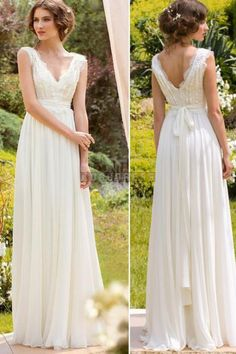 V-neck Chiffon Sleeveless A-line Sash Lace Wedding Dress - Shedressing.com