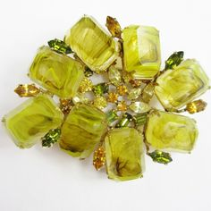 Marbled Lime Green Schreiner Brooch & Earrings Set from jewelicious on Ruby Lane ~