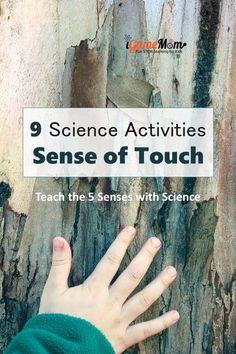 Science experiment activities teaching kids the sense of touch. Fun STEM activities for the Five Senses unit for preschool kindergarten to school age.