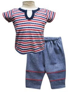 Playera manga corta con simulación inferior y pantalón con pespuntes. Tallas 3, 6, 12 y 18 meses.