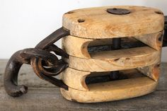 Large Vintage Wood and Iron Pulley