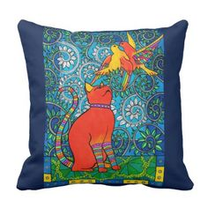 Ginger Cat with Rainbow Birds Cat Art Throw Pillow - red gifts color style cyo diy personalize unique