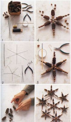 making christmas ornaments pinecones stars craft idea