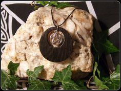 5000 year old Irish Bog Oak Necklace Pendant with Tibetan Silver Pentagram circular design - New Moon Enterprise  - 1