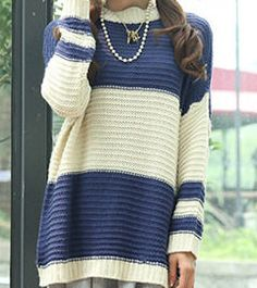 Relaxed,Navy,Striped,Sweater, Knit, Sweater, Cream, navy, blue
