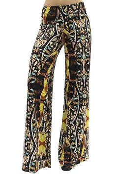 Brown Colorful Hippie Long Flared Leg Palazzo Pants