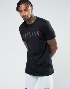 ASOS Longline T-Shirt With Rainbow Print