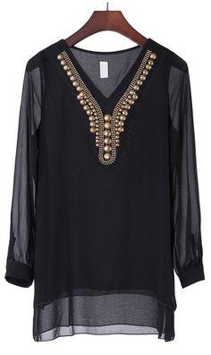 Long-sleeved V-neck chiffon shirt black