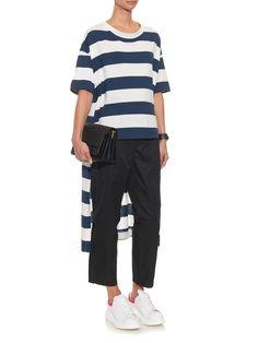 Long back-hem striped jersey T-shirt by Yohji Yamamoto Regulation | Shop now at #MATCHESFASHION.COM