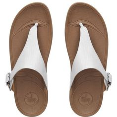FitFlop The Skinny™ Imi-Leather Flip Flops ($90) ❤ liked on Polyvore featuring shoes, sandals, flip flops, flats, urban white, white flip flops, white leather shoes, buckle sandals, leather thong sandals and white leather flats