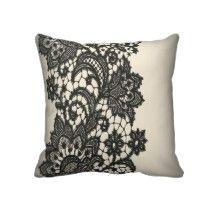 Vintage black Lace beige Paris Decor Pillow