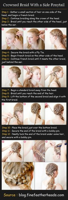 Crowned Braid With a Side Ponytail Tutorial | Beauty Tutorials