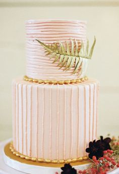 Pink & Gold Botanical Inspired Cake
