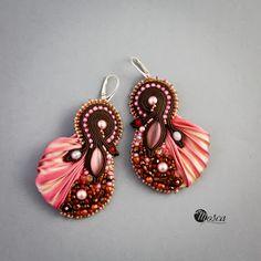 Cora - bead embroidered earrings ith shibori silk ribbon