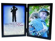 Salute to a Hero Tabletop Frame. Add a special photo to this frame with silhouette image and salute written to a hero... military, police, fire.. brave men and women who risk their lives everyday. A wonderful reminder that their actions are appreciated and that they have loved ones at home, awaiting their safe return.