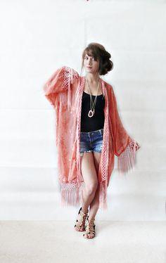 FLORAL FRINGE KIMONO// peach floral kimono,long kimono,tassel kimono,kimono jacket,boho clothing,one size