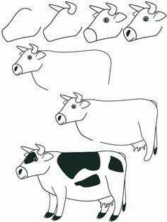 animales dibujar facil | como dibujar un vaca paso a paso facilmente