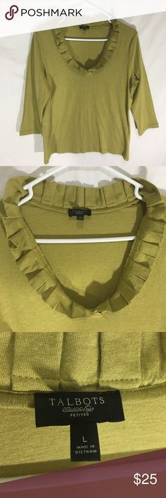 """Talbots Wool Green Ruffle Neckline 3/4 Sleeve Top In excellent used condition, with no visible issues. Beautiful Ruffle detail around the neckline, very soft material. 3/4 sleeves. Petite Large. Measurements: bust 42"""", sleeve Length 25"""", length 22"""". Fabric content: 45% Cotton, 45% modal, 10% wool Talbots Tops Blouses"""